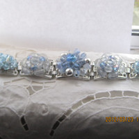 CLEARANCE-Baby Blues-Bracelet Designed With Vintage Repurposed Jewelry, SALE, Was 40.00, Now 25.00