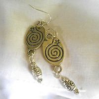 Dangle Earrings All Tibetan Silver Swirl/star Connector Southwest Inspired Tibetan Silver Barrel Beads Etched Circles/Lines