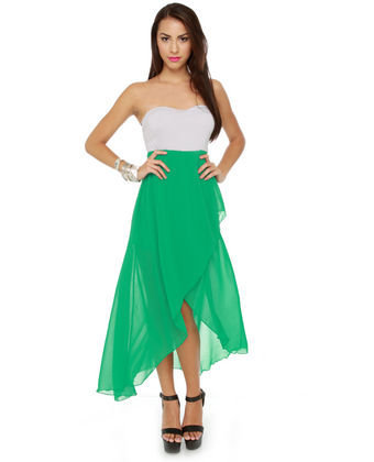 Gorgeous Color Block Dress - Strapless Dress - High Low Dress - $42.00