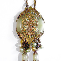 Neo Victorian Gothic Green Serpentine Jade &amp; Pearl Medallion Necklace - Vintage Style Handmade Natural Stone Pendant - Brass Filigree Wrap