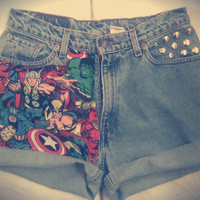 Vintage The AVENGERS Marvel Cuffed High Waist Studded Levi Shorts