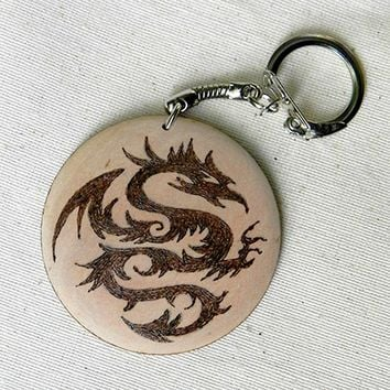 TRIBAL DRAGON two sided pyrography wooden key chain with your name