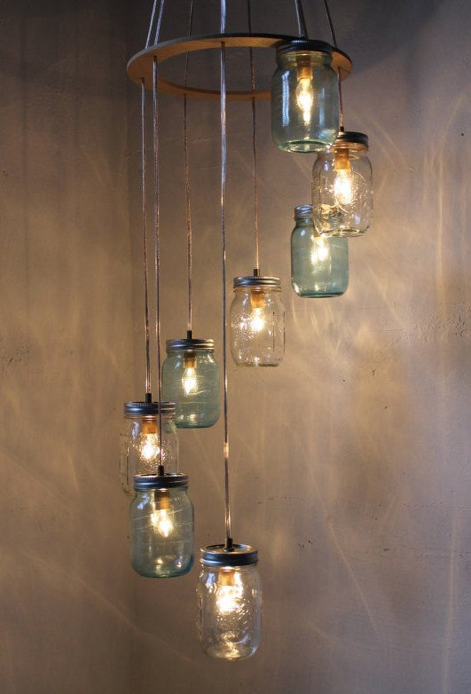 Waterfall Splash Mason Jar Chandelier - Cascading Spiral - Modern Industrial Swag - Handcrafted Upcycled BootsNGus Hanging Light Fixture