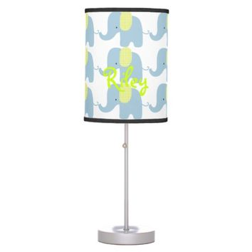 Blue and Lime Baby Elephant Table Lamp