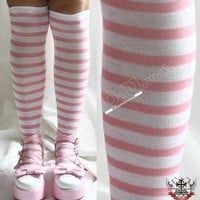 Punk Lolita Pink White Stripe Over-Knee Stockings Socks
