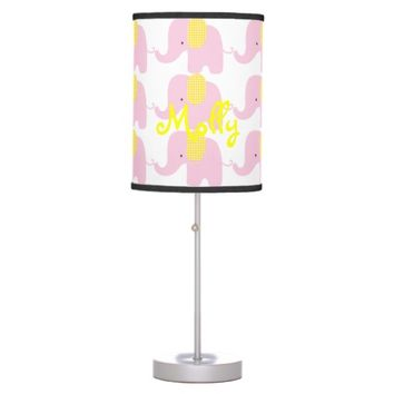 Pink and Yellow Baby Elephant Table Lamp