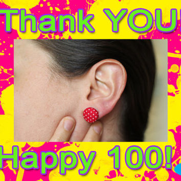 NEW Earrings | FREE Shipping | Thank You Red Earrings | Customer Appreciation Earings | Ear Studs | Red and White Polka Dot Earings