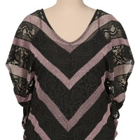 lace chevron stripe plus size poncho