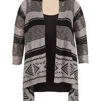 open front striped plus size cardiwrap