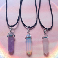 Crystal Point Amethyst, Opalite, Obsidian, Rose Quartz, clear quartz necklace