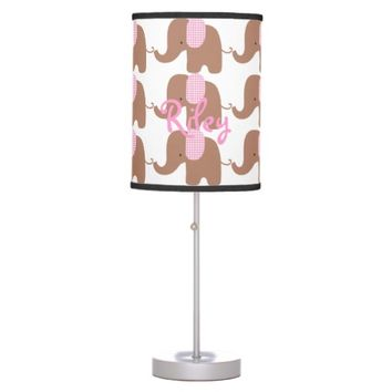 Chocolate and Pink Baby Elephant Table Lamp
