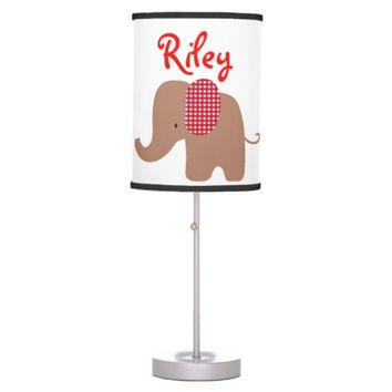 Chocolate and Red Baby Elephant Table Lamp