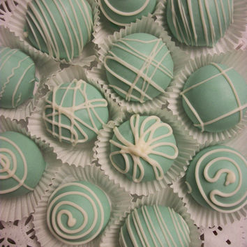 Tiffany Styled Blue Cake Balls Wedding Favors Bridal Shower Vanilla Cake