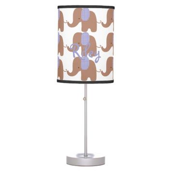 Chocolate and Purple Baby Elephant Table Lamp