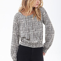 Houndstooth Smocked Blouse