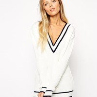 ASOS | ASOS Cricket Jumper With V-Neck And Tipping at ASOS