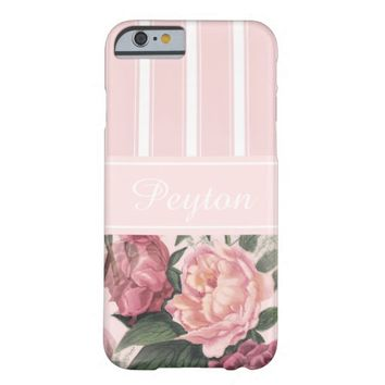 Vintage Roses Pink Stripe Personalized Case