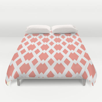 Daffy Lattice Light Coral Duvet Cover by Lisa Argyropoulos | Society6