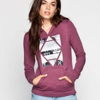 Hurley Diamond Womens Hoodie Burgundy  In Sizes