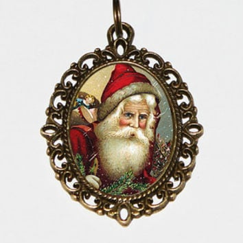 Santa Claus Necklace Oval Pendant