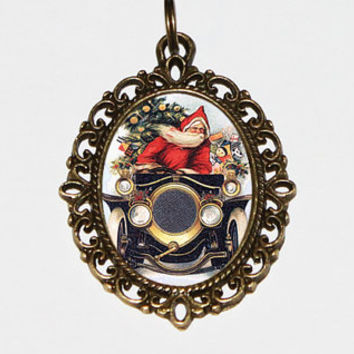 Santa Car Necklace, Oval Pendant, Christmas Jewelry, Santa Pendant
