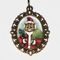 Santa Cat Necklace, Oval Pendant, Christmas Jewelry