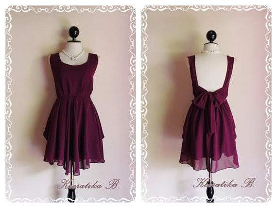 A Party Dress - Cocktail Wedding Bridesmaid Party Bridal Prom Dinner Night Dress Grapes Wine Purple Color Deep Back