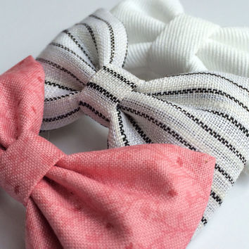 White denim, white with black stripes, new pink floral hair bows from Seaside Sparrow. These hair bows make a perfect gift for her.