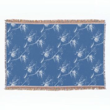 Vintage White Grapevine Blue Throw Blanket