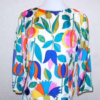 Vintage 60s Whimsical Flower Garden Blouse by Joy Stevens 38 Bust