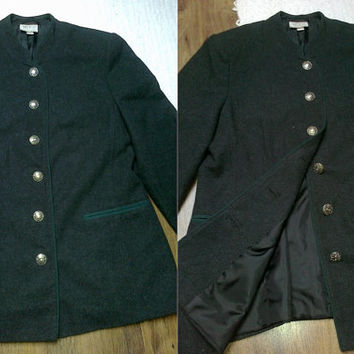German loden womens grey wool hunting trachten jacket blazer coat cardigan M L military Oktoberfest vintage dirndl riding victorian gothic