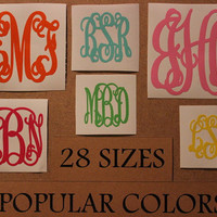 3 Initial Vine Interlocking Vinyl Monogram Sticker Decal. Assorted Sizes High Quality Personalized