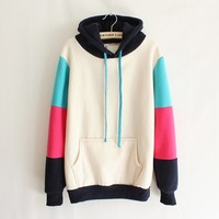 Mixed Colors Hooded Sweater (gray)