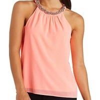 METALLIC BRAIDED CHIFFON HALTER TOP
