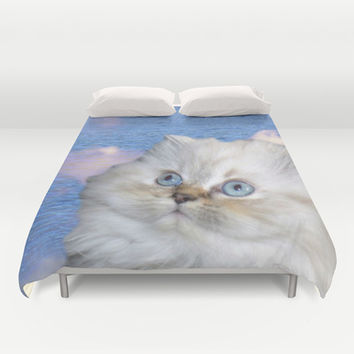 White Cat and Water Duvet Cover by Erika Kaisersot