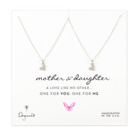 one for you one for me mother + daughter heart necklaces, sterling silver