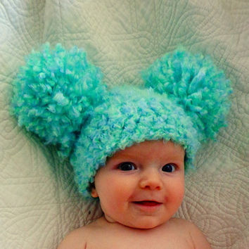 Baby Hats Baby Boy Hats Baby Pom Pom Hats Crochet Baby Girl Hats Newborn Photography Props Hats Photo Props - Sea Green
