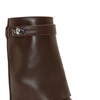 Givenchy Brown Leather Shark Lock Wedge Boots