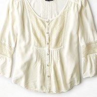 AEO Women's Button Front Peasant Shirt