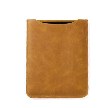 Yellow iPad case in genuine leather