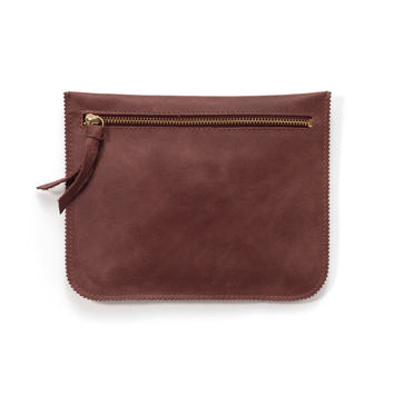 Brown leather zipper pouch, small leather purse, leather pouch by Leah Lerner