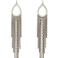 Rhinestone Teardrop Chain Fringe Earrings by Charlotte Russe - Silver