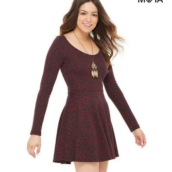 Aeropostale Womens Long Sleeve Animal Print Dress - Licorice,