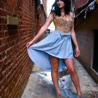 onemanband. original Upcycled TUXEDO SKIRT in Robin's Egg BLUE
