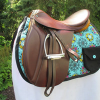 English All-Purpose Saddle Pad with Pocket:  Turquoise Medallion Print with Hot Pink Backing and Black Trim