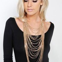 Strands Metal Chain Layered Necklace   MakeMeChic.com