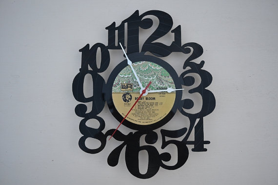vinyl record clock (artist is Bobby Bloom)