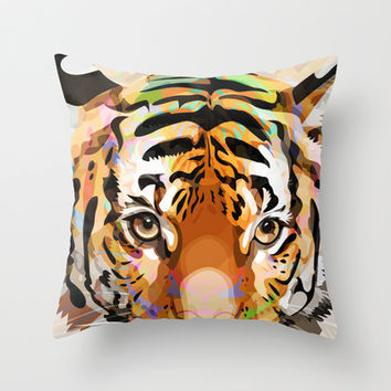 Tiger Mix #3 Throw Pillow by Ornaart