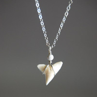 Mano Jr. necklace - tiny sterling silver shark tooth necklace, delicate silver necklace, dainty layering necklace, hip, modern necklace