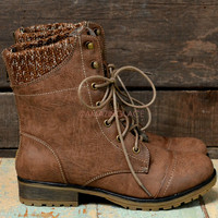 Campfire Kisses Taupe Lace Up Sweater Ankle Boots